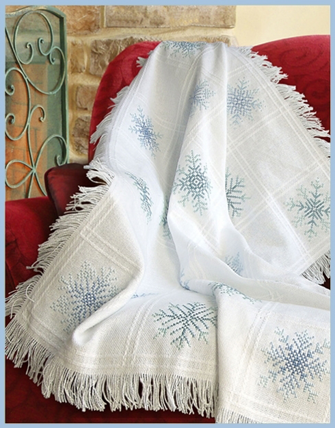 """Charles Craft Evenweave Throw 16 Count 32/""""x44/""""-white"""